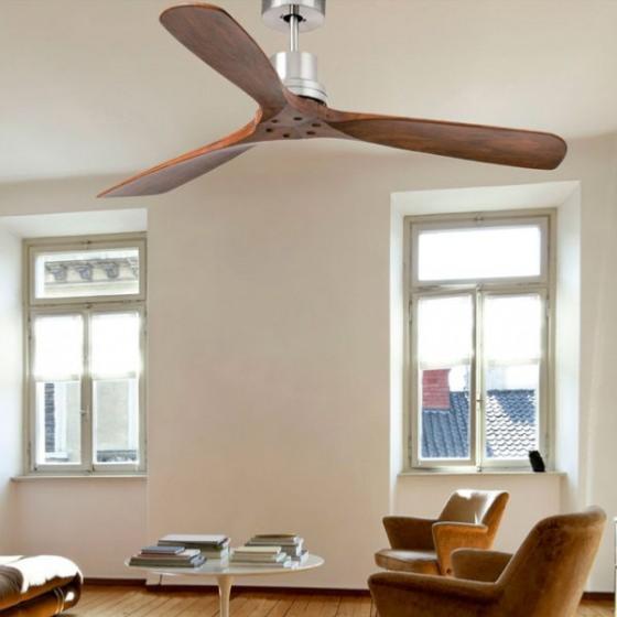Ventilador faro lantau nogal ventiladores aspa madera - Ventiladores de techo de madera ...